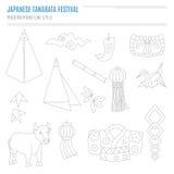 Комплект японских атрибутов фестиваля Bon в современном mono li Стоковая Фотография RF