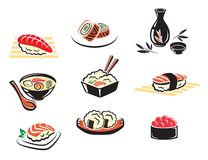 Комплект японских значков морепродуктов Стоковые Изображения