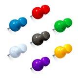 Комплект ярких канцелярских кнопок Стоковое Фото