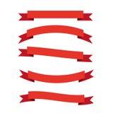 Комплект 5 ярких красных знамен интернета Стоковые Фотографии RF