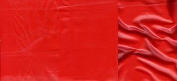 Комплект ярких красных кожаных текстур Стоковые Изображения