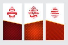 Комплект 3 ярких поздравительных открыток рождества красного и белого вектора классических Стоковая Фотография RF