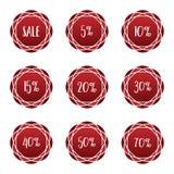 Комплект ярлыка значка стикера процента продажи красный Стоковая Фотография RF