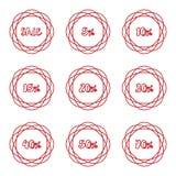 Комплект ярлыка значка стикера процента продажи круговой Стоковая Фотография RF