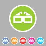 Комплект ярлыка логотипа символа знака сети значка кино анаглифа стекел Three-dimencional плоский Стоковые Изображения