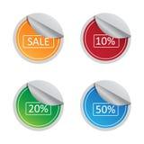 Комплект ярлыка стикера продажи и процента Стоковое фото RF