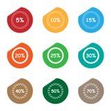 Комплект ярлыка стикера разрыва продажи процентов Стоковое Изображение RF