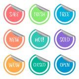 Комплект ярлыка стикера шелушения продвижения продажи красочный Стоковые Изображения RF