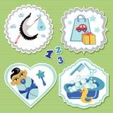 Комплект ярлыка с деталями для азиатского newborn ребёнка Стоковые Изображения RF