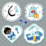 Комплект ярлыка с деталями для ребёнка мулата newborn Стоковые Изображения