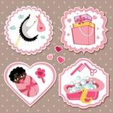 Комплект ярлыка с деталями для ребёнка мулата newborn Стоковое фото RF