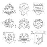 Комплект ярлыка Monochrome битника винтажного, шаблоны логотипа и значка Ультрамодная линия дизайн Стоковые Фотографии RF