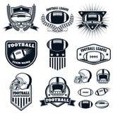 Комплект ярлыков американского футбола, эмблемы и элементы дизайна Стоковая Фотография RF