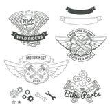 Комплект ярлыков велосипедиста винтажных, логотип мотора oldschool бесплатная иллюстрация