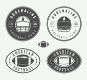 Комплект ярлыков винтажного рэгби и американского футбола, эмблем и логотипов Стоковые Изображения RF
