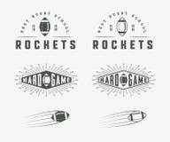 Комплект ярлыков винтажного рэгби и американского футбола, эмблем и логотипов Стоковое Фото