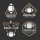 Комплект ярлыков винтажного рэгби и американского футбола, эмблем Стоковая Фотография RF