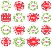 Комплект ярлыков года сбора винограда вектора для продаж рождества Стоковое фото RF