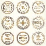 Комплект ярлыков года сбора винограда в золоте Стоковое Изображение