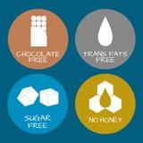 Комплект ярлыков еды - аллергены, GMO освобождают продукты Intolera еды Стоковая Фотография RF