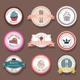 Комплект ярлыков и значков логотипа вектора хлебопекарни Стоковое Изображение