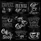 Комплект ярлыков кофе на доске иллюстрация штока