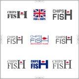 Комплект ярлыков рыб и обломоков и значки изолированные на белом backgr Стоковые Фото