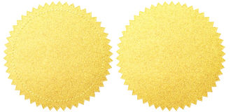 Комплект ярлыков уплотнения золота изолированный с путем клиппирования Стоковое Изображение