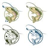 комплект ярлыков форели шаржа винтажный Стоковое Изображение RF
