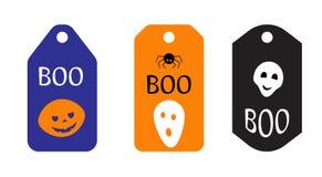 Комплект ярлыков хеллоуина Плоская иллюстрация вектора дизайна Стоковые Фотографии RF