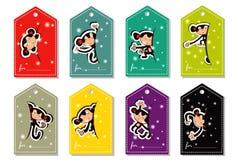 Комплект ярлыков цвета обезьяны рождества Стоковые Изображения