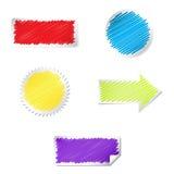 Комплект ярлыков цвета с влиянием scribble Изолированный дальше Стоковая Фотография RF