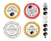 Комплект ярлыков шаблона для элементов сыра и дизайна Стоковое Фото