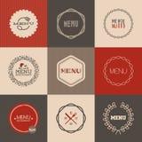 Комплект ярлыков для дизайна меню ресторана. Иллюстрация вектора Стоковое Изображение RF
