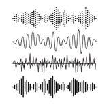 Комплект ядрового аудио развевает музыка Технология мелодии EQ музыкальная Рекордный вектор Музыкальная форма волны Звук мелодии  бесплатная иллюстрация
