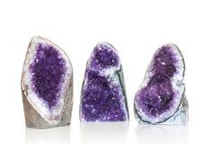 Комплект amethyst кристалла на белизне Стоковые Фото