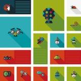 Комплект bakcground ui вечеринки по случаю дня рождения плоский Стоковое Изображение