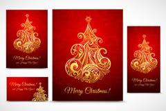 Комплект baner, карточек и рогульки Cristmas Стоковое Изображение