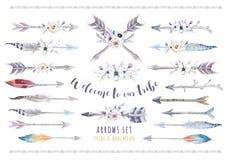 Комплект boho акварели этнический стрелок, пера и цветка триба иллюстрация вектора