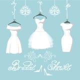 Комплект 3 bridal платьев висит на лентах Стоковая Фотография