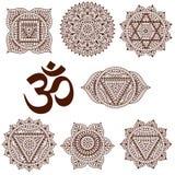 Комплект 7 chakras Восточные орнаменты для татуировки хны и для вашего дизайна Элементы буддизма декоративные Стоковое Фото