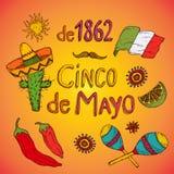 Комплект Cinco de Mayo Стоковые Изображения RF