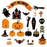 Комплект clipart вектора хеллоуина Пугающие значки тыквы Стоковые Фотографии RF