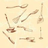 Комплект cookware векторной графики Стоковое Изображение