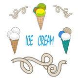 Комплект creame льда вектора бесплатная иллюстрация