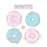 Комплект donuts нарисованных рукой изолированных в векторе сладостно бесплатная иллюстрация