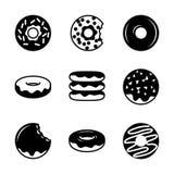 Комплект 9 donuts Иллюстрация вектора