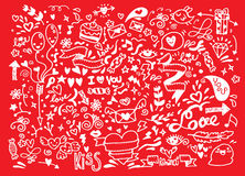 Комплект doodle валентинки, элемент влюбленности притяжки руки Стоковые Фото