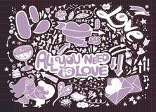 Комплект doodle валентинки, элемент влюбленности притяжки руки Стоковые Фотографии RF