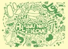 Комплект doodle валентинки, элемент влюбленности притяжки руки Стоковое фото RF